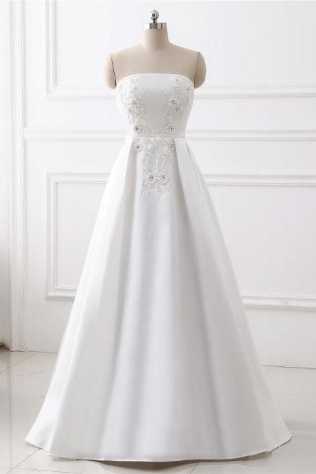 A-line lace Applique wedding dress ,sexy sweetheart neck wedding dress , Luxury simple sleeveless wedding dress, floor length bridal dress, beading wedding dress