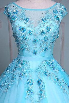 Blue tulle scoop neck long winter formal prom dress, long beaded evening dresses