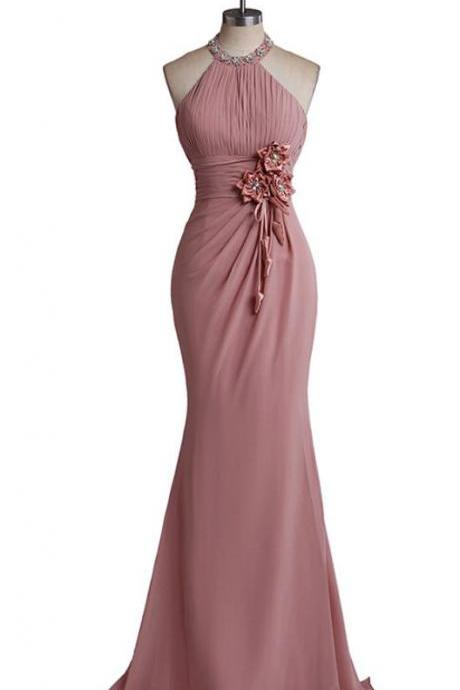 Halter Ruched Chiffon, Mermaid Long Prom Dress, halter neck Evening Dress , Floral Appliqués