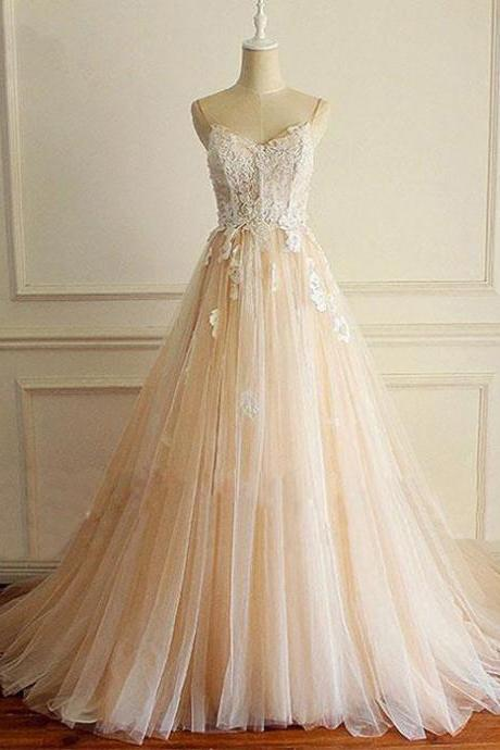 Romantic A Line, Spaghetti Straps ,Lace Tulle ,Champagne Prom/Wedding Dress