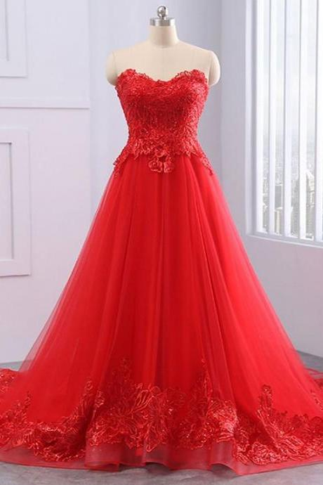 Red tulle prom gowns ,strapless long evening dress, A-line customize party dress, lace evening dress, sweep train prom dress