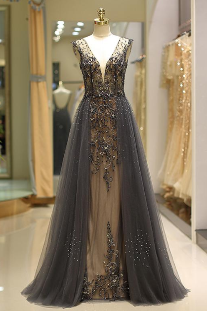 Modest Tulle V-neck Neckline Floor-length A-Line Evening Dress With Beadings