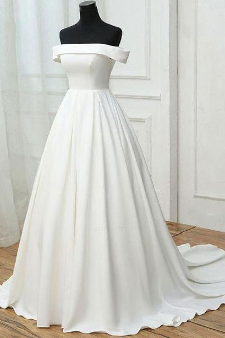 White Off Shoulder Party Dresses , Simple Prom Dresses, Long Prom Dresses