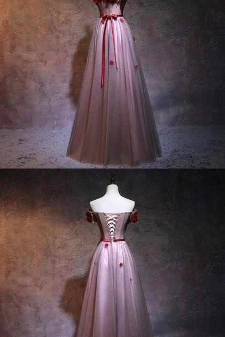 Terrific A-Line Off Shoulder Party Dresses, Tulle Red Floor Length Prom Dresses With Appliques
