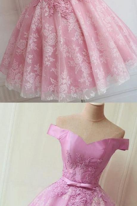Short Pink Party Prom Dresses With Bowknot, Lace Up Mini Great Prom Dresses,Off Shoulder Homecoming Dresses