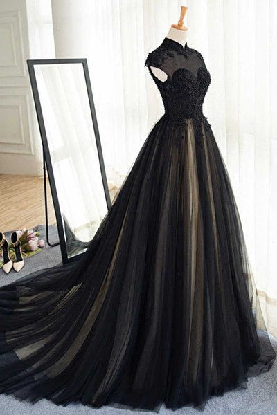 Elegant long black tulle lace long prom dress,a line formal black tulle evening dress