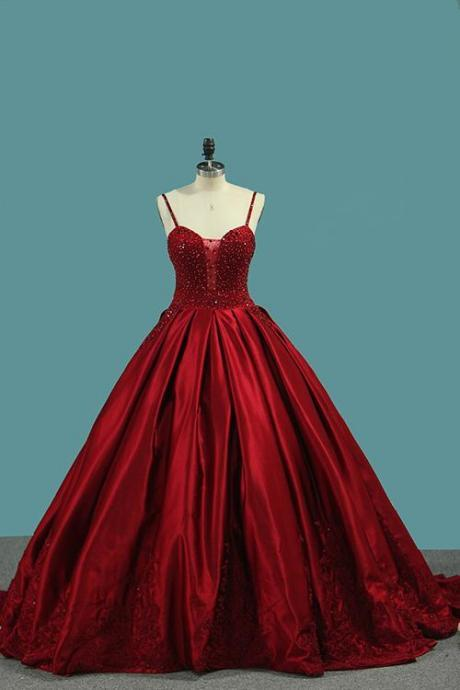 Burgundy Spaghetti Straps evening dress red party dress Beading Prom Dresses, Princess Ball Gown