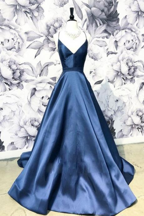 SIMPLE V NECK PARTY DRESS DARK BLUE LONG PROM DRESS, BLUE EVENING DRESS,SPAGHETTI PARTY DRESS