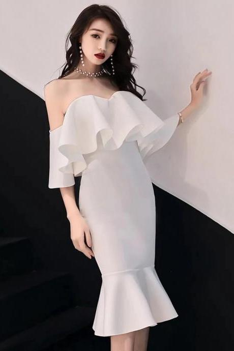 White evening dress new style prom dress banquet sexy elegant fishtail strapless lady annual meeting dress off shoulder party dress