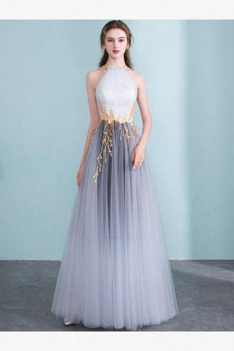 gray party dress halter neck evening dress tulle applique prom dress