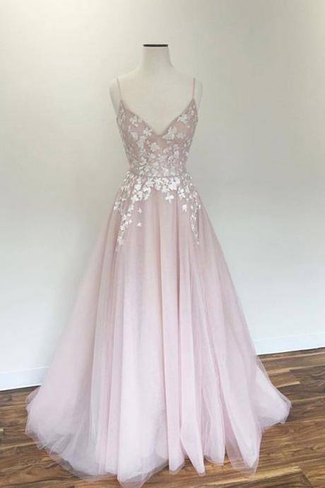 spaghetti prom dress Light pink party dress v neck prom dress tulle applique long prom dress, pink evening dress
