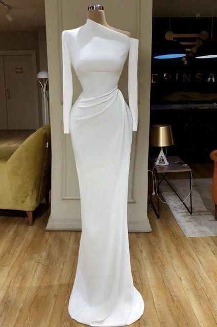 White evening dresses long sleeve modest simple mermaid elegant cheap formal dresses