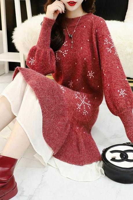 Fashion mesh knit dress 2020 Autumn/winter Korean version of the new loose thick medium and long bottom wool skirt trend