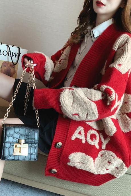 Cartoon sweater coat Autumn winter edition new languid wind loose-fitting thick-knit cardigan