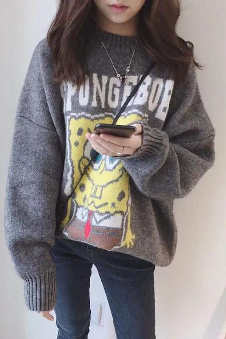 Spongebob Squarepants sweater with lazy cartoon thickening Spring/Autumn edition new loose-necked turtleneck sweater
