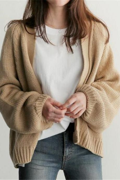 Solid-color short sweater Female Spring and Autumn 2020 new college style loose long sleeve versatile knit cardigan