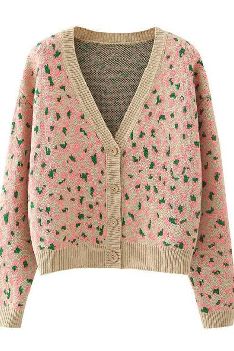2020 Autumn vintage small floral V-neck women's sweater cardigan coat