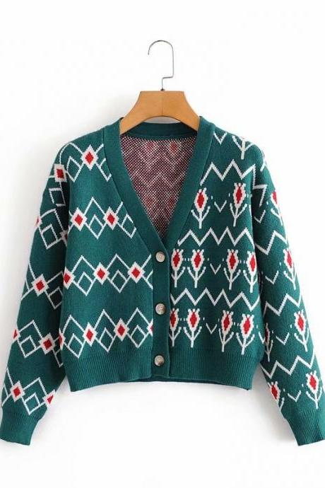 vintage loose-fitting women's cardigan jacket with extra thickness