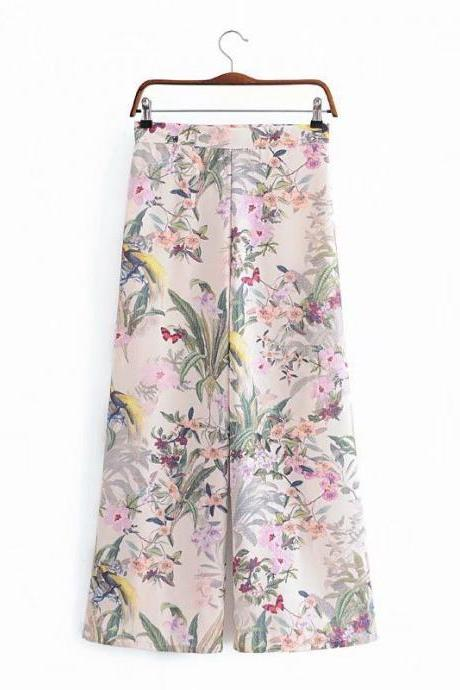 Flowers and plants rest wide leg pants straight tube pants women's casual pants