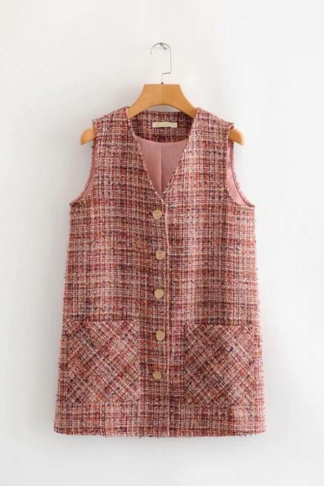 Loose tweed jacket cardigan vest for women