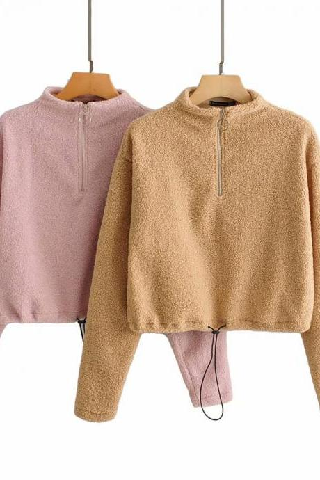 Women's new fall/Winter lamb feather zip-up hoodie