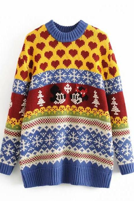 Slouchy, loose-fitting pull-up Christmas cartoon sweater and knit sweater