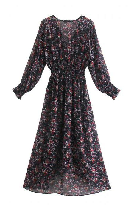 Autumn print long dress with V-neck and long sleeves
