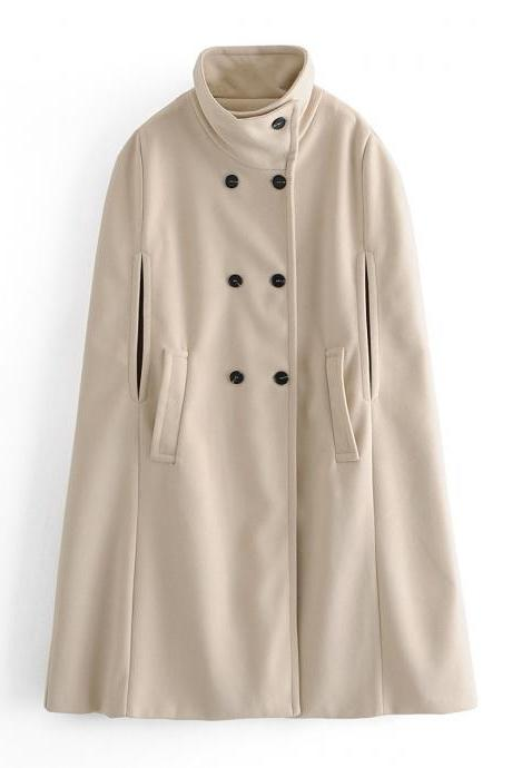 The fall/winter collection features a double-breasted woolen cape coat