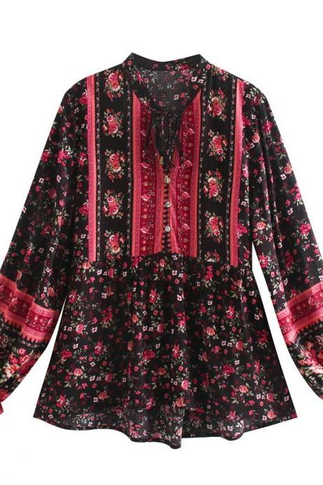 New floral lantern sleeve human cotton shirt long sleeve holiday top