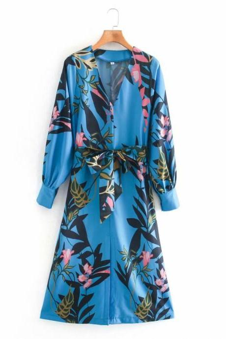 2020 autumn loose skirt print V-neck shirt dress