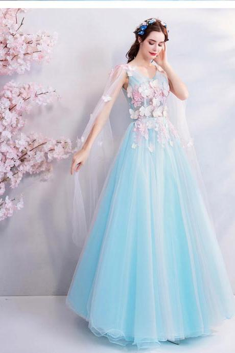 fairy god prom dress, blue butterfly, thin shawl,ball gown dress,Custom Made