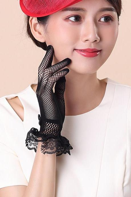 Glove lady, driving thin short style sunscreen summer, lace touch screen gloves, thin style spring and autumn