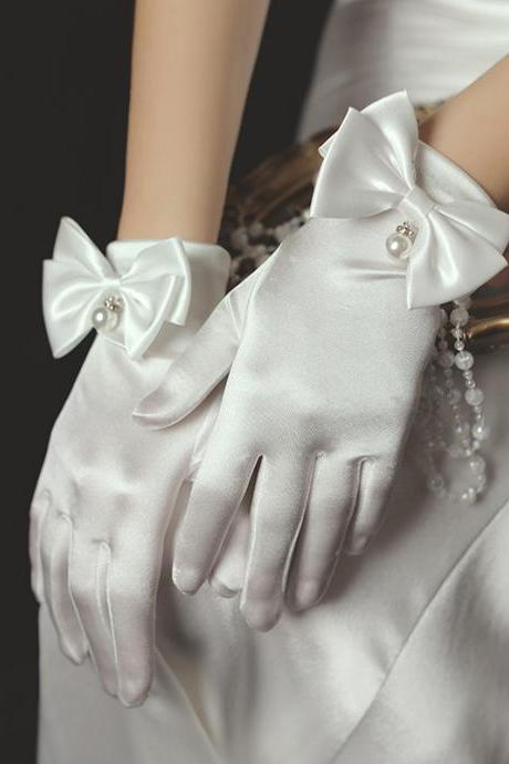 New, bridal dress gloves, short tulle, pearl white gloves