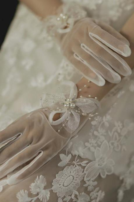 Bride Gloves Wholesale, Wedding Dress Accessories, Photograph Short Butterfly Pearl Wedding, Wedding Gloves