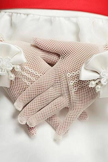 Hot Sell, Children's Manners Gloves, Girl Princess Wedding Gloves with Pearl Mesh, Bride Gloves