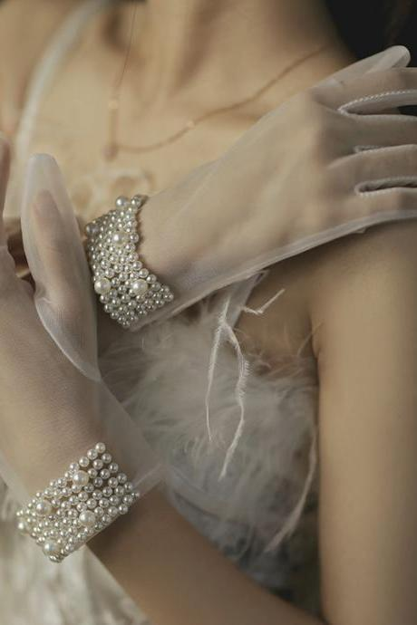 Wedding Gloves, Wedding Gloves, Wedding Gloves, Pearl Gloves, Short Photographic Gloves