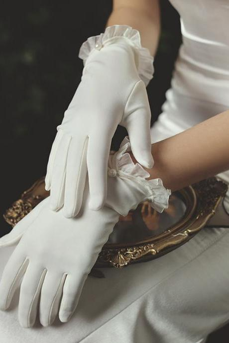 New bridal dress gloves, short tulle pearl white gloves