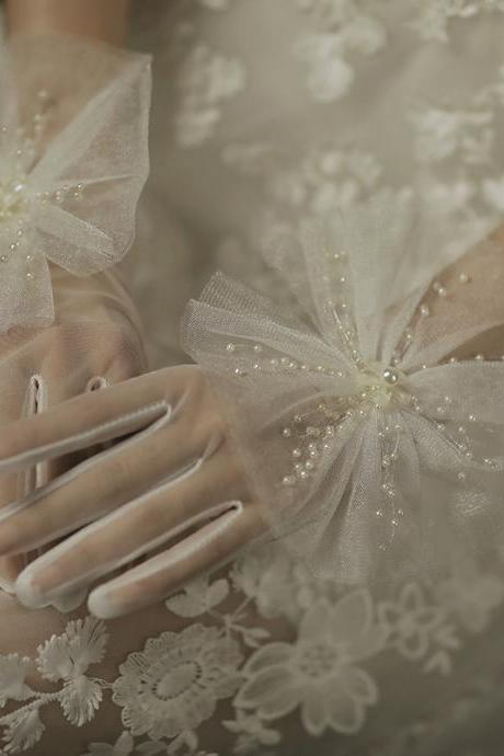 Wedding gloves wholesale, bridal dress short gloves, photo photography pearl decoration