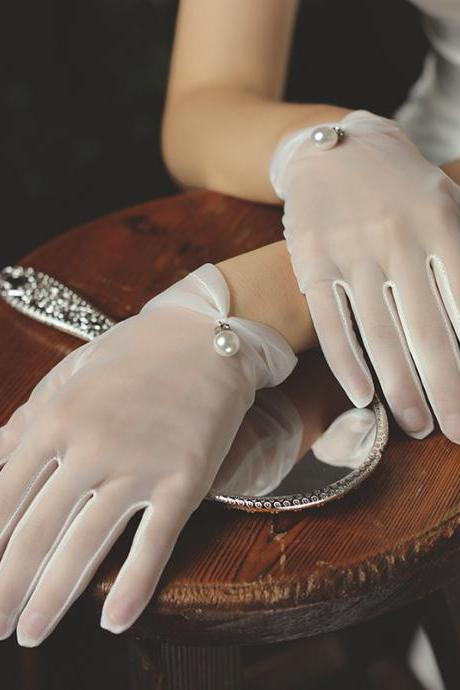 New style, bridal dress gloves, short tulle pearl white gloves