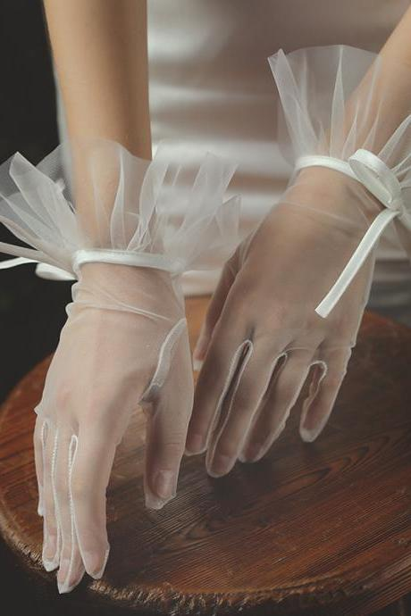 Bride wedding gloves, wedding gauze bow elegant, lace wedding dress hand gauze, white gauze photo short style gloves