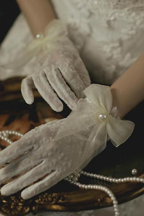 Bride wedding gloves, bowtie big pearl wedding dress gloves, wedding photo shoot Sen