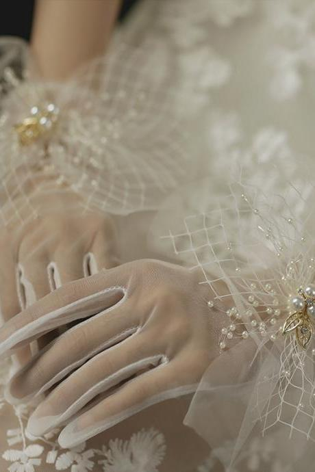 Simple, summer sun protection gloves, gauze short satin gloves, wedding dress bridal white pearl gloves
