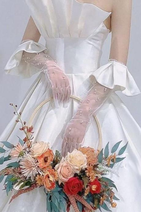 Full finger gauze pearl white bridal gloves, flounce shaped long gloves, wedding dress with finger gauze hand sleeves
