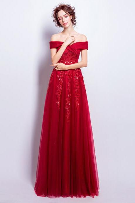 Atmosphere, red lace wedding dress, off shoulder prom dress,Custom Made