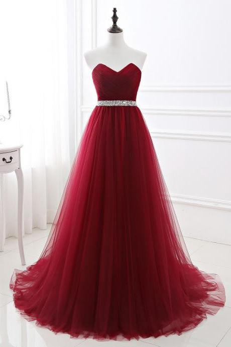 Strapless prom dress,simple evening dress,light tulle formal dress with bead,Custom Made