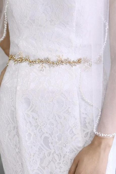 Bride Belt, Wedding Accessories, Diamond Alloy Belt,SH89