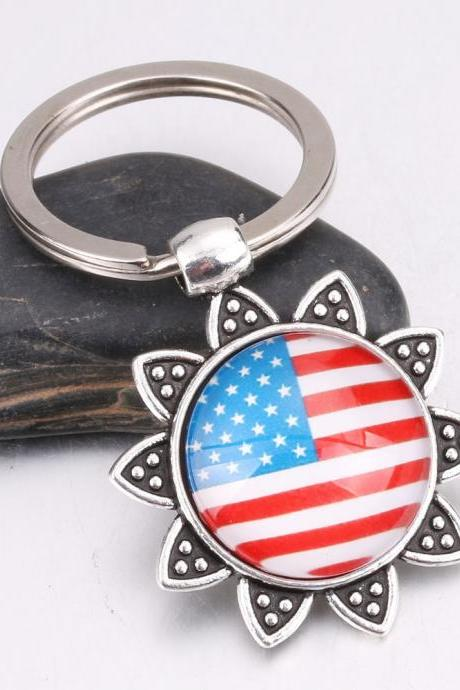 2 pcs on sale, Key chain,Popular, Fashion Accessories, vintage Sunflower Flag, Key Ring,wholesale
