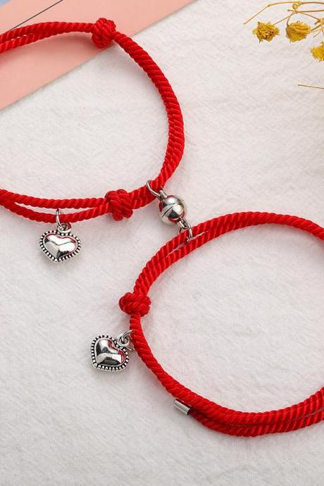 2 pcs on sale,Gravity Couple Bracelets A pair, Milanese rope Heart to Heart, Attracting Stone Hand Straps, Valentine's Day gift