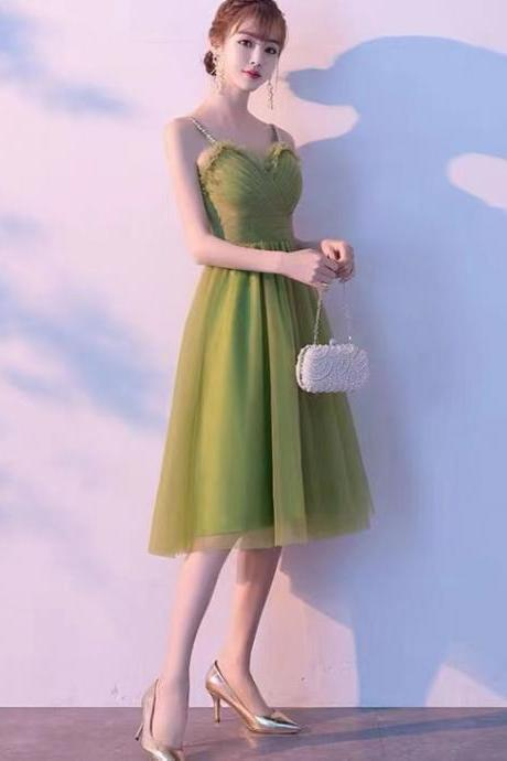 Green evening dress, fresh graduation dress,little party dress,Custom Made
