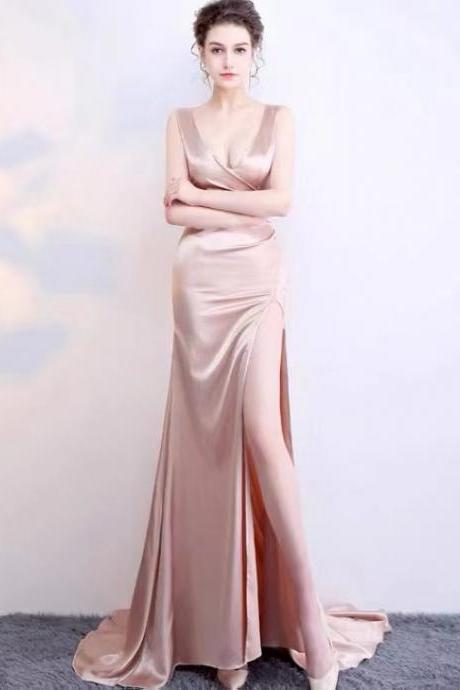 Sexy prom dress,champagne bodycon dress,slit evening dress,Custom Made